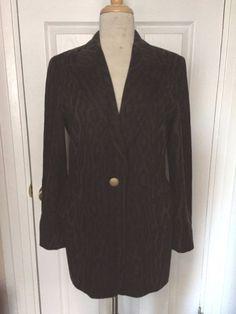 VTG Escada Margaretha Ley Wool Green Black Animal Print Boyfriend Blazer Size 40 #ESCADA #Blazer