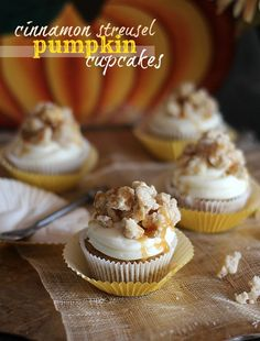 Cinnamon Streusel Pumpkin Cupcakes with White Chocolate Cream Cheese Frosting from @Shelly Figueroa Figueroa Jaronsky (cookies and cups)