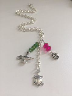 Delta Zeta Sorority ~Charm Necklace~ Officially Licensed Product~ Pink & Green Swarovski Crystals~ Turtle ~ Roman Lamp~ Rose ~ PERFECT GIFT! by TheGoldArtichoke on Etsy