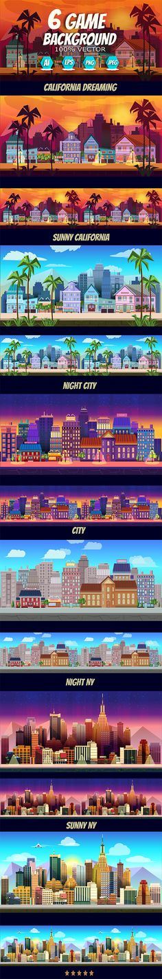 6  City Game Backgrounds by VitaliyVill >> You can use this background for your game #application / project. The #Game #background is made with 100% vector.