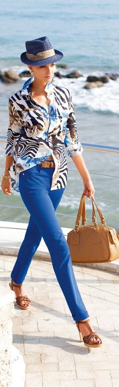 Madeleine ~ Royal blue, print, tan accessories