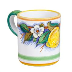 Deruta Limone Mug - handmade and hand painted in Deruta, Italy, this mug adds Italian charm to your morning cup of coffee or tea. Bright yellow lemons and little flowers on a crisp white mug - looks refreshing! Found at the Italian Pottery Outlet in Santa Barbara, CA