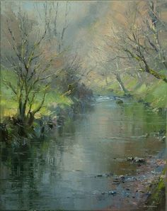 Early Spring, Chee Dale by British Contemporary Artist Rex Preston Watercolor Trees, Watercolor Landscape, Abstract Landscape, Landscape Paintings, Watercolor Paintings, Watercolors, River Painting, Paintings I Love, Pastel Art