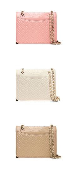 Perfectly polished. The Tory Burch Fleming handbag: now in patent saffiano.