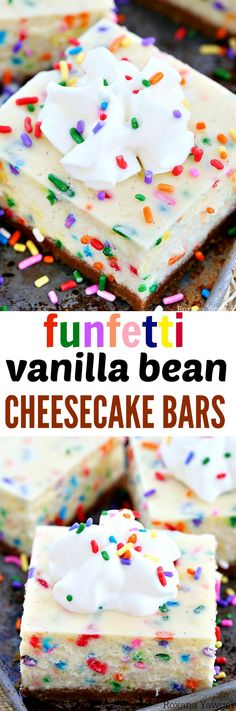 Silky and dreamy funfetti vanilla bean cheesecake bars bursting with a wonderful, crave-worthy vanilla flavor and packed with colorful sprinkles in every bite!