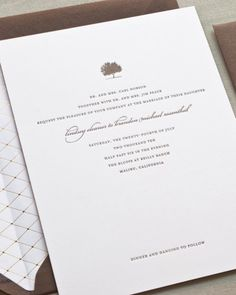 For a classic style, opt for this letterpressed invitation with an oak tree motif. Sugar Paper