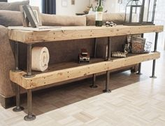 Portland Furniture - Galvanized Pipe and Salvaged Butcher Block - Modern Sofa Table by BitandBolt on