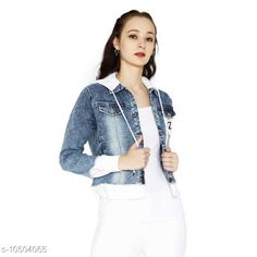 Checkout this latest Jackets Product Name: *Stylsih and adorable denim hoody Jacket* Fabric: Denim Sleeve Length: Long Sleeves Pattern: Self-Design Multipack: 1 Sizes:  XS, S (Bust Size: 36 in, Length Size: 19 in)  M (Bust Size: 38 in, Length Size: 20 in)  L (Bust Size: 40 in, Length Size: 21 in)  XL (Bust Size: 42 in, Length Size: 22 in)  Easy Returns Available In Case Of Any Issue   Catalog Rating: ★4.1 (472)  Catalog Name: Trendy Modern Women Jackets & Waistcoat CatalogID_1917965 C79-SC1023 Code: 594-10504065-9111