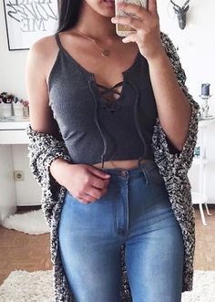 Crop Top with Lace-Up Neck