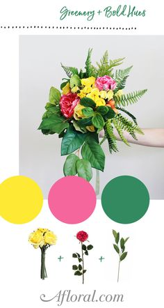 Build your own wedding bouquet with luscious greenery and silk flowers in bold hues from Afloral.com