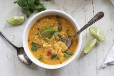 Slow Cooker Thai Chicken and Butternut Soup with Quinoa - Packed with protein and loaded with veggie goodness! (Gluten free, dairy free)