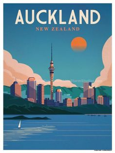 Vintage Travel Size - Digital Print on 80 lb cover matte white Physical poster does not include Watermark. *SHIPPING DETAILS* Items will be. Vintage Travel Posters, Vintage Postcards, Photo Vintage, Vintage Ski, Vintage Images, Tourism Poster, Auckland New Zealand, Poster Art, Travel Illustration