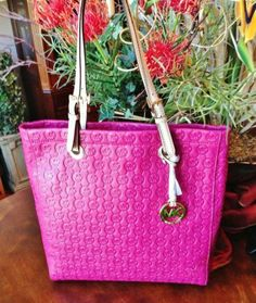 Michael Kors Jet Set Leather Peony Pink North South Tote Shoulder Bag overnight bag NWT $190.00 for lacey