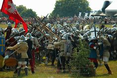 Pavise with image of Archangel Michael in action - Grunwald battle 2015