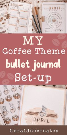 Coffee Theme Bullet Journal Set-up | Heraldeecreates Bullet Journal Contents, Bullet Journal Set Up, Bullet Journal Cover Page, Bullet Journal Hacks, Bullet Journal Writing, Bullet Journal Layout, Bullet Journal Ideas Pages, Journal Covers, Bullet Journal Inspiration
