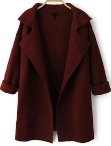 Wine+Red+Lapel+Long+Sleeve+Loose+Knit+Cardigan+GBP£17.87