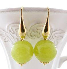 Green Jade Earrings Carved Sterling Silver 925 Dangle Drop Stone Uk Gemstone Jewelry