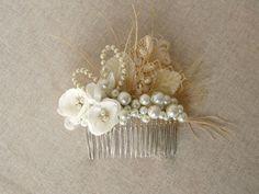 Rustic Bridal Wedding fascinator haircomb by NatachaFontanel