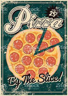 Screen Vintage Poster De Pizza Vetor E Ilustracao Royalty Free