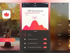 I like the combination of the curve and the progress dots (kinda motivating) Zen Tattoo, Me App, Application Design, Mobile App Design, Interactive Design, Page Layout, Web Design, Yoga, Mindful