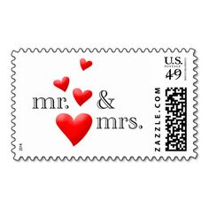 Mr and Mrs Hearts Wedding Postage