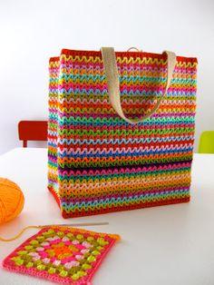 Haak & Smaak: Kleurrijke boodschappentas