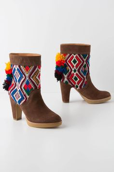 <3 Pom Tapestry Mid-Boots - Anthropologie.com