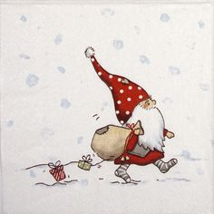 Paper Napkin - Tomte with Presents Painted Christmas Cards, Watercolor Christmas Cards, Christmas Drawing, Christmas Paintings, Watercolor Cards, Christmas Pictures, Christmas Gnome, Christmas Art, Christmas Projects