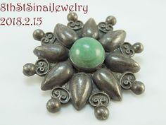"Pre-Eagle Mexico Sterling Silver 925 Green Stone FLOWER Pin Brooch 2""L x 2""W .  #Flower #PreEagleMexico #Mexico #Mexican #SterlingSilver #Pin #Brooch #Unique #Beautiful #EstateJewelry #VintageJewelry #8thStSinaiJewelry #FreeShipping  http://stores.ebay.com/8thstsinaijewelry"