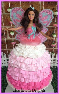 Ruffle ombre doll cake at a Fairy Garden Party #fairygarden #partycake