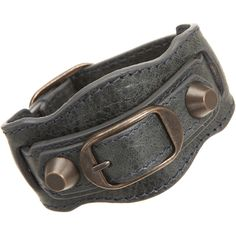 """Balenciaga: Arena Classic Bracelet  $195.00 - Leather wrap-around bracelet with signature brass buckle and hardware.    38mm width  2"""" diameter. Shown in Anthracite."""