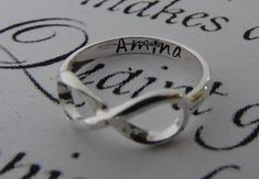 Infinity ring HAND MADE ONLY silver plated or gold plated ring ***Best price!!! For a perfect fit, please specify your ring size. All sizes are available! Personalized inside with your custom name or 2 names, a date, Initials, coordinates or a short 2-3 words message. Can fit