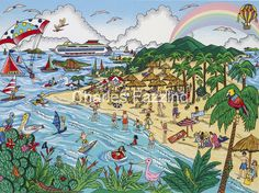 """Our Caribbean Vacation, 3D #popart by pop artist Charles Fazzino. 12.5"""" x 9.5"""""""