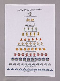 "Twelve Days of a Coastal Christmas"" Flour Sack Cotton Kitchen Dish Towel Tea Towel - 18"" x 26"