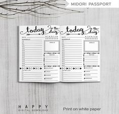 Printable Midori Travelers Notebook Passport Size Daily Planner PDF file. Daily planner Size: 89mm x 124mm (3.5 x 4.88) - folded DOWNLOAD INCLUDES: 1) 8.5 x 11 (Letter) PDF file 2) A4 PDF file HOW TO DOWNLOAD: Once you purchase a download, it is available to you instantly. Please go to your purchases and reviews section under the You tab at the top right corner to download the file. Youll also get an email with a download link. HOW IT WORKS: 1. Purchase and download the file. 2. Open th...