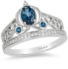 Enchanted Disney Cinderella Oval London Blue Topaz and CT. Diamond Carriage Ring in Sterling Silver - Size 7 - Peoples Jewellers Enchanted Disney Cinderella Oval London Blue Topaz and CT. Diamond Carriage Ring in Sterling Silver - Siz Disney Princess Engagement Rings, Vintage Oval Engagement Rings, Princess Rings, Ring Engagement, Cinderella Ring, Cinderella Disney, Disney Princesses, Collection Disney, Jewelry Collection
