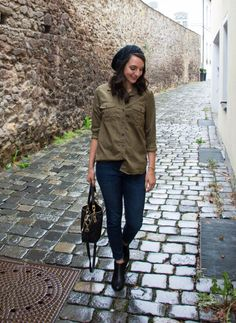olive-button-up-skinny-jeans-ankle-boots-3