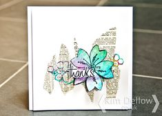 Kim Dellow: Playing some products to make a sort of clean and simple card with a mixed media spin. Scrapbooking, Scrapbook Cards, Paper Cards, Diy Cards, Beautiful Handmade Cards, Card Making Techniques, Flower Cards, Butterfly Cards, Card Sketches