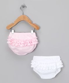 White & Pink Ruffle Pima Diaper Cover Set - Infant by Hug Me First #zulily #zulilyfinds