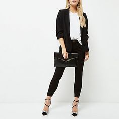 Petite black ruched sleeve blazer £55.00