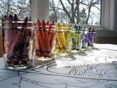 Rainbow Party - placing crayons in clear plastic cups for kids to do activities