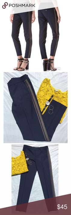Vince. colorblock side strap pants 4 Excellent pre-loved condition! Fantastic way to go from work to evening with a men's-inspired look. Contrast racing stripes contour a pair of lightweight Vince trousers. Classic styling with hip pockets and buttoned back pockets. Hook-and-eye closures and zip fly. ✅offers❌trades/PP bundles save 20% off 2+ Fabric: Soft, stretch-twill suiting. 96% wool/4% spandex. MEASUREMENTS Rise: 9in / 23.5cm Inseam: 29in / 74cm Leg opening: 12in / 31cm Vince Pants