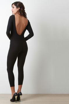 Scooped Back Microfiber Jumpsuit