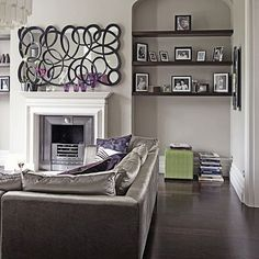 Modern Chic Grey and Purple Living Room by BrunchatSaks