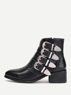 Shop Buckle Decorated Side Zipper Ankle Boots online. SheIn offers Buckle  Decorated Side Zipper Ankle e80daa21d6722