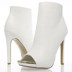 Sale-White-Gold-Open-Peep-Toe-Stiletto-High-Heel-Ankle-Bootie-Boot-Shoes-US-9