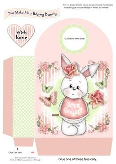 Happy Bunny Large Gift Bag on Craftsuprint designed by Janet Roberts - This gift bag goes with my 'Happy Bunny' mini kit ...... see the link below. Would make a great gift bag for birthdays or those special Easter treats :) - Now available for download!