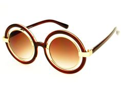 Retro Style Cut Out Lens Large Retro Round Sunglasses Brown Gold R1492