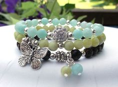 Boho Nature Bracelet with Amazonite, Peridot Jasper and Palm Wood – BlueStoneRiver