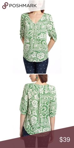 Anthropologie Charleston Henley Peasant Blouse 🦄 Size medium. Maeve from Anthropologie. Adorable floral pattern! Material is 100% rayon. 🦄 Anthropologie Tops Blouses